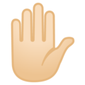 Raised Hand: Light Skin Tone on Google Android 9.0