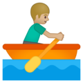 Person Rowing Boat: Medium-Light Skin Tone on Google Android 9.0