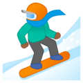 Snowboarder: Medium-Dark Skin Tone on Google Android 9.0