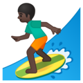 Person Surfing: Dark Skin Tone on Google Android 9.0