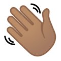 Waving Hand: Medium Skin Tone on Google Android 9.0