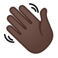 Waving Hand: Dark Skin Tone on Google Android 9.0