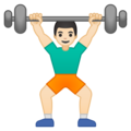 Person Lifting Weights: Light Skin Tone on Google Android 9.0