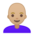 Woman: Medium-Light Skin Tone, Bald on Google Android 9.0