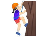Woman Climbing: Light Skin Tone on Google Android 9.0