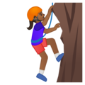Woman Climbing: Medium-Dark Skin Tone on Google Android 9.0