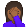 Woman Facepalming: Medium-Dark Skin Tone on Google Android 9.0