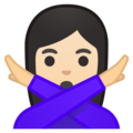 Woman Gesturing No: Light Skin Tone on Google Android 9.0
