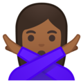 Woman Gesturing No: Medium-Dark Skin Tone on Google Android 9.0