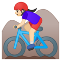 Woman Mountain Biking: Light Skin Tone on Google Android 9.0