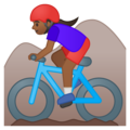 Woman Mountain Biking: Medium-Dark Skin Tone on Google Android 9.0