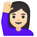 Woman Raising Hand: Light Skin Tone on Google Android 9.0