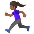 Woman Running: Medium-Dark Skin Tone on Google Android 9.0