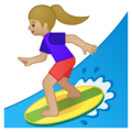 Woman Surfing: Medium-Light Skin Tone on Google Android 9.0