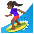 Woman Surfing: Medium-Dark Skin Tone on Google Android 9.0