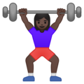 Woman Lifting Weights: Dark Skin Tone on Google Android 9.0