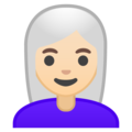 Woman: Light Skin Tone, White Hair on Google Android 9.0