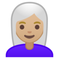 Woman, White Haired: Medium-Light Skin Tone on Google Android 9.0