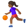 Woman Bouncing Ball: Medium-Dark Skin Tone on Google Android 9.0
