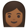 Woman: Medium-Dark Skin Tone on Google Android 9.0