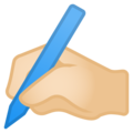 Writing Hand: Light Skin Tone on Google Android 9.0