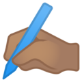 Writing Hand: Medium Skin Tone on Google Android 9.0