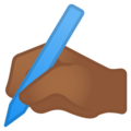 Writing Hand: Medium-Dark Skin Tone on Google Android 9.0