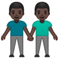 Men Holding Hands: Dark Skin Tone on Google Android 10.0