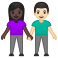 Woman and Man Holding Hands: Dark Skin Tone, Light Skin Tone on Google Android 10.0