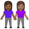 Women Holding Hands: Medium-Dark Skin Tone, Medium Skin Tone on Google Android 10.0