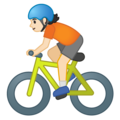 Person Biking: Light Skin Tone on Google Android 10.0