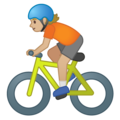Person Biking: Medium-Light Skin Tone on Google Android 10.0