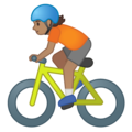 Person Biking: Medium Skin Tone on Google Android 10.0