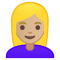 Woman: Medium-Light Skin Tone, Blond Hair on Google Android 10.0