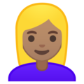 Woman: Medium Skin Tone, Blond Hair on Google Android 10.0