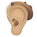 Ear With Hearing Aid: Medium-Light Skin Tone on Google Android 10.0