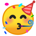 Partying Face on Google Android 10.0