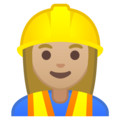 Woman Construction Worker: Medium-Light Skin Tone on Google Android 10.0