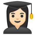 Woman Student: Light Skin Tone on Google Android 10.0