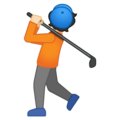 Person Golfing: Light Skin Tone on Google Android 10.0