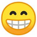 Beaming Face With Smiling Eyes on Google Android 10.0