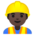 Man Construction Worker: Dark Skin Tone on Google Android 10.0