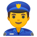 Man Police Officer on Google Android 10.0