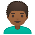 Man: Medium-Dark Skin Tone, Curly Hair on Google Android 10.0