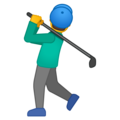 Man Golfing on Google Android 10.0