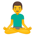Man in Lotus Position on Google Android 10.0