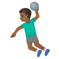 Man Playing Handball: Medium-Dark Skin Tone on Google Android 10.0