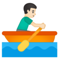 Man Rowing Boat: Light Skin Tone on Google Android 10.0