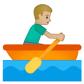 Man Rowing Boat: Medium-Light Skin Tone on Google Android 10.0
