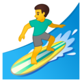 Man Surfing on Google Android 10.0